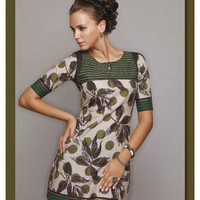 Green synthetic Fabric Elbow length Sleeve Leaf Print Dress by REEMAS on Sense of Fashion