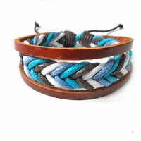 Bangle leather bracelet woven bracelet ropes bracelet women bracelet men bracelet with hemp rope woven and leather bracelet cuff  SH-1490