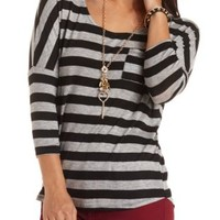 Oversized Three-Quarter Sleeve Shirt by Charlotte Russe