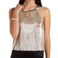 Beaded Crinkled Metallic Swing Top by Charlotte Russe - Gold Metallic