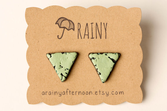 Pale Green Distressed Triangle Earrings