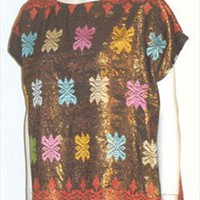 Vintage 70s Metallic Top Ethnic Print