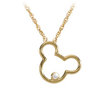 14 KT Gold and Diamond Mickey Mouse Icon Necklace - Disney Dream Collection
