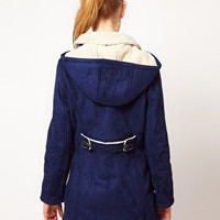 Kookai Duffle Coat In Faux Sheepskin