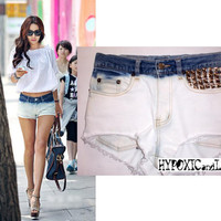 HypoxicAndLost - Handmade - Faded White Studded Denim Cut Off Shorts