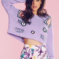 Wildfox Couture Fuzzy Baby Cropped Billy Sweater in Zinfandel
