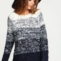 Navy Ombre Cable Knit Sweater - LoveCulture