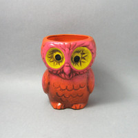 Vintage Owl Candle Holder Orange Pink Yellow Hot 60's Colors