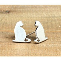JDC53a : Cat Studs - Silver - earrings &amp; studs - jewellery