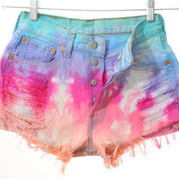 High Waist Distressed Rainbow Shorts( ALL SIZES)