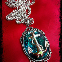 Aqua Anchor Pendant Necklace Punk Rockabilly Nautical Sailor