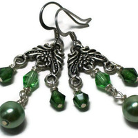 Chandelier Earrings Green Glass Pearl