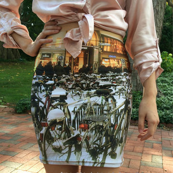 Bike skirt black white gold SMALL fitted skirt winter gifts for her urban German bicycles Munich snow fitted skirt teens women's Christmas