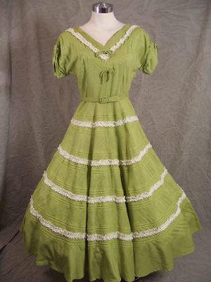 Vtg 50s Fabulous Green Circle Skirt Lace Banding Patio Party Dress Lucy Era M