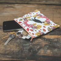 Coral Diamonds Zipper Pouch