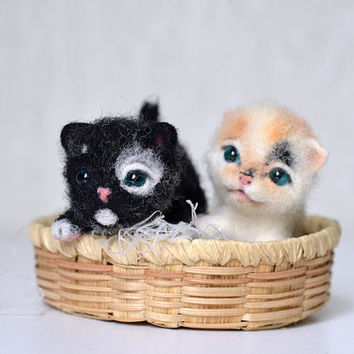 Two needle felted little kittens set
