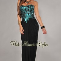Teal Lace Accent Black Padded Strapless Gown