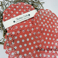 "5"" Polka Dot Red and White Doilies French Lace Paper Round doily Qty 30"
