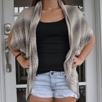 Ombre Natural Crochet Cardigan Vest