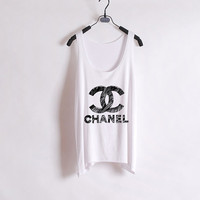 Draw me a CHANEL- Women Tank Top - White - Sides Straight