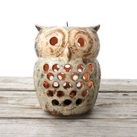 Ceramic Hanging Owl Lantern by GallivantingGirls on Etsy