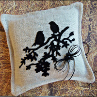 Love Birds Rustic Earthy Burlap Ring Bearer Pillow, Ivory and Black Rustic Wedding Accessories