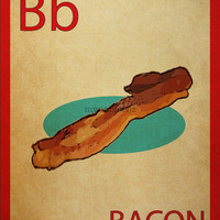 Bacon Vintage Flashcard Style Print