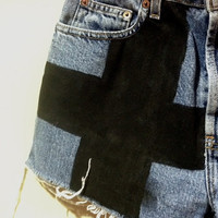 distressed cross high-waisted shorts