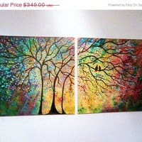 Sale 40 % off thru Sun X Large Commission Original oil  Painting modern  contemporary knife impasto impressionistic- Sunny Trees and lovebi