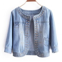 Slim Round Neck Leisure Rivet Denim Jacket$42.00