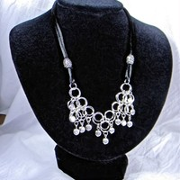 Simple Chainmail Triangular Silver and Black Toggle Bib Necklace