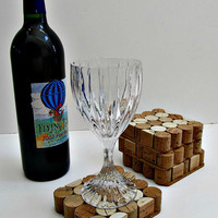 Square Wine Cork Coasters - Set of Four - Wine Accessory, Home Decor, Holiday Entertaining, Housewarming Gift, Wedding Gift, Christmas Gift