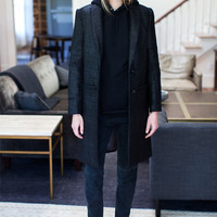 Tailored Coat - Black Coated Tweed | Emerson Fry