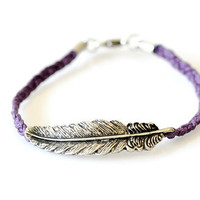 Feather Braided Bracelet - Purple