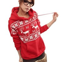 Women Pullover Deer Print Snowflakes Pattern Hooded Jacket