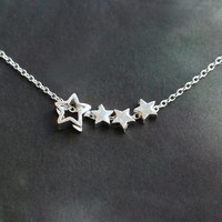 Sterling Silver star necklace, four stars necklace, tiny necklace, wedding jewelry, bridesmaid jewelry, petite necklace,  gift for her