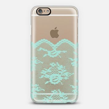 Mint Romantic Lace Transparent iPhone 6 case by Organic Saturation | Casetify