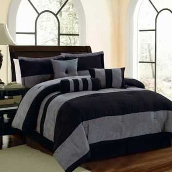 7 Piece Black Gray Micro Suede FULL Comforter Set with accent pillows