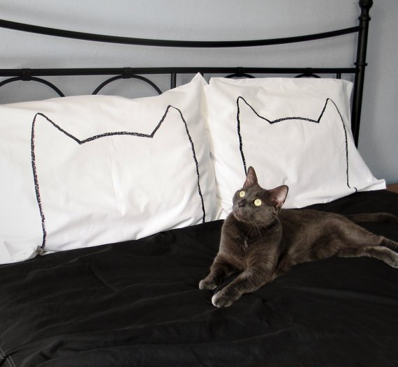 NEW: His and Hers Cat Nap Pillowcases, King Size Set of 2, 200TC