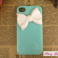 iPhone 4/4s bow case, iPhone 4s case cover, ustomize white bow iPhone 4/4s case, mint green iPhone 4/4s case