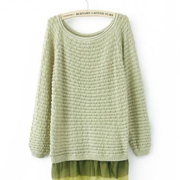 Green Lace Crochet Sweater $41.00