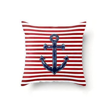 Nautical Throw Pillow Cover, Rustic Navy Blue Anchor on red and white striped background, sizes 16 x 16, 18 x 18 or 20 x 20 inch