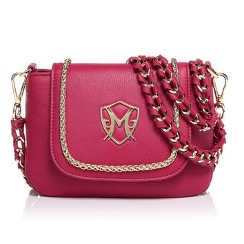 Greg Michaels Becky Flap Mini Shoulder bag with Chain Burgundy