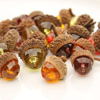 20 Beaded Acorns - Fall Decorations - Bowl Fillers