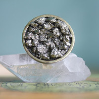 Raw Pyrite Ring Natural Glitter Pyrite Chunk Fool&#x27;s Gold Ring on Adjustable Band