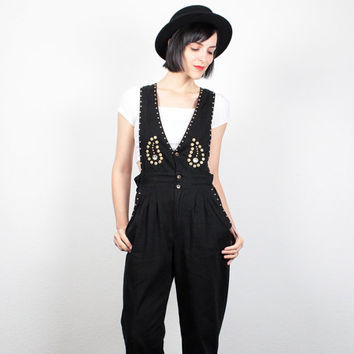 Vintage 1980s Jumpsuit Black Gold Studded Pantsuit 80s Jumpsuit Backless Romper Overalls Playsuit Tapered Leg Pants Jumper S Small M Medium