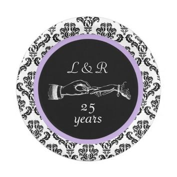 Anniversary Black White Damask Purple Paper Plate