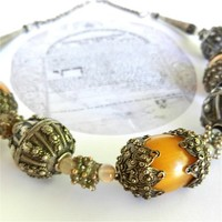 Antique Yemen Silver Necklace with Capped Amber, Signed Silver Beads