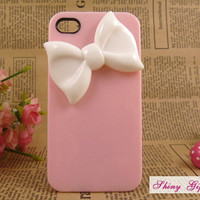 Cute bow iPhone 4 case, iPhone 4s case, ustomize pink iPhone 4/4s case iPhone cover