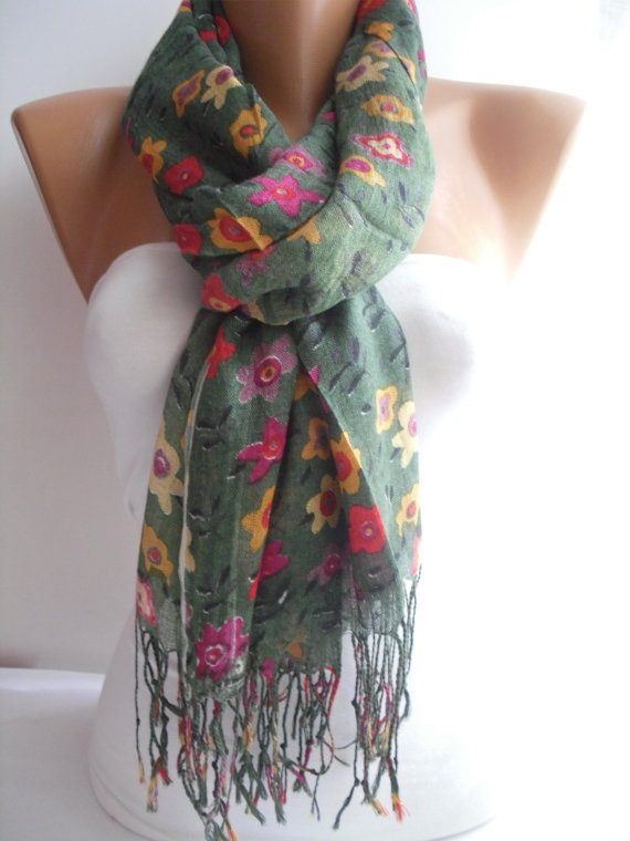 Woman Green and floral Scarf Shawl  Cowl headband